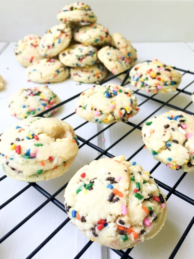 These Funfetti Sugar Cookies are chewy, fluffy and sprinkled with color throughout. With only 9 simple pantry ingredients, you can enjoy these festive cookies in less than 30 minutes!