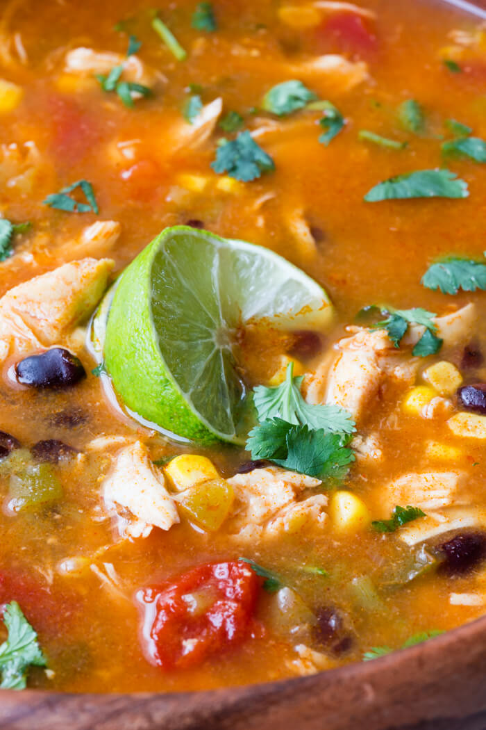 An easy and super flavorful chicken taco soup