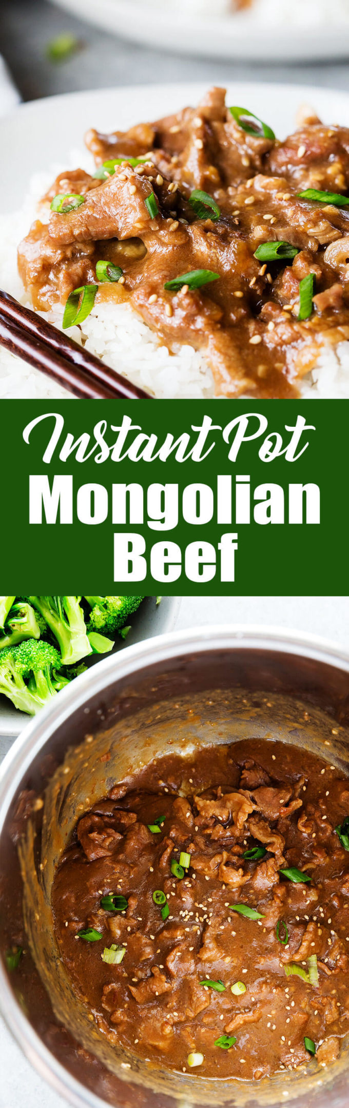Super easy and delicious Mongolian beef cooked in the instant pot pressure cooker!