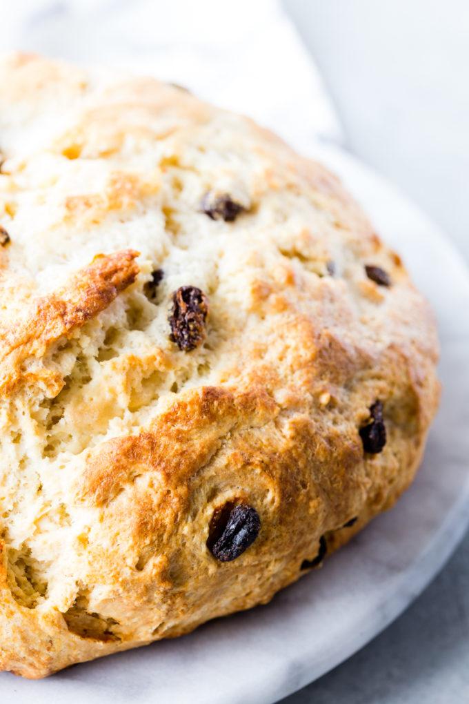 Irish Soda Bread dotted with raisins.