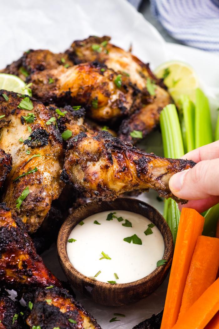 Jerk Chicken Wings, Jamaican slow cooker wings on a plate