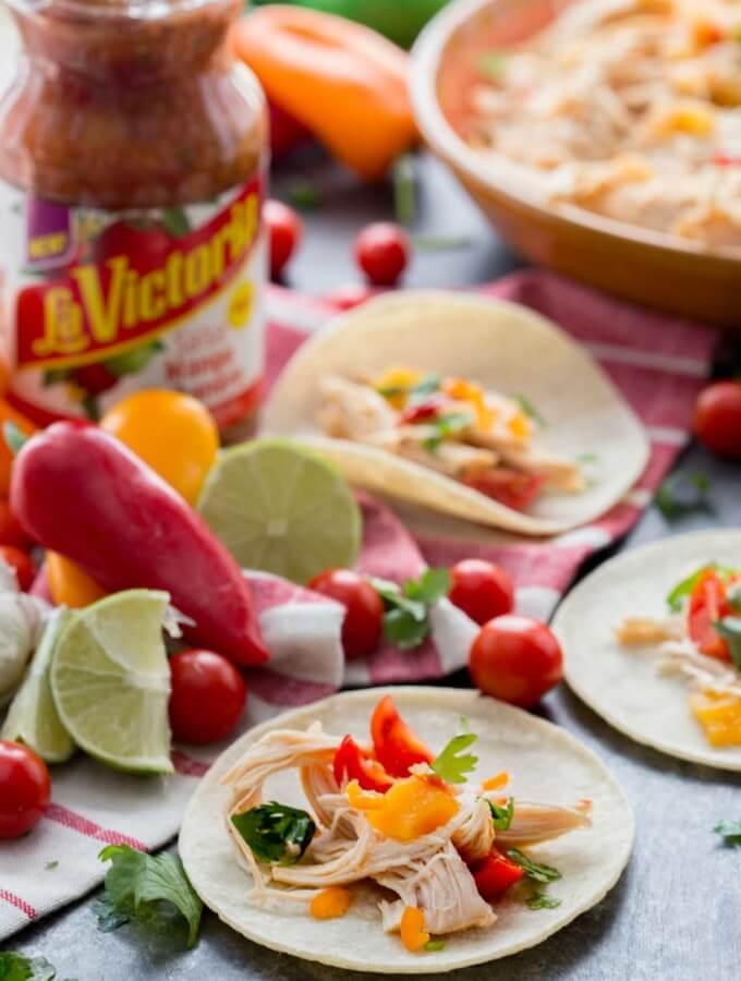 Easy Slow Cooker Mango Habanero Chicken Tacos