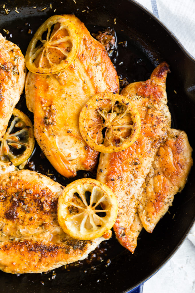 Easy to make lemon chicken, cooked in a skillet