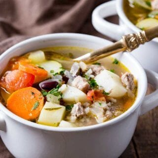 A bowl of heaping and hearty ministrone soup