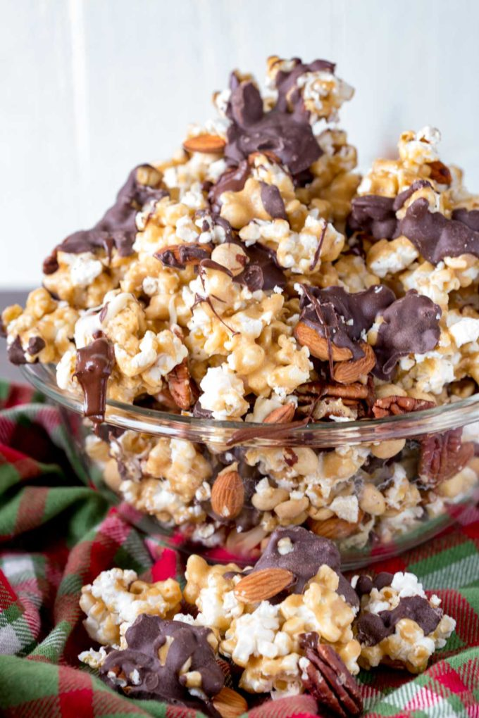 Caramel corn, popcorn moose munch with chocolate