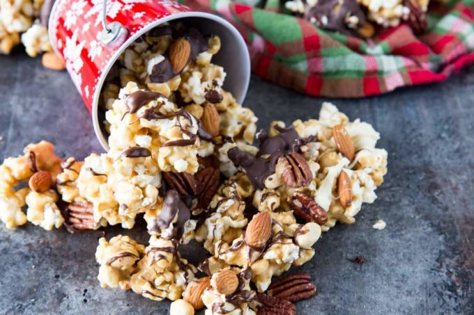 Caramel corn drizzled in chocolate