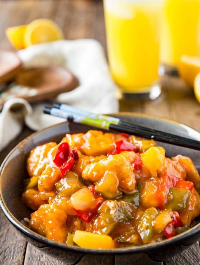 Sweet and sour chicken and mocktail