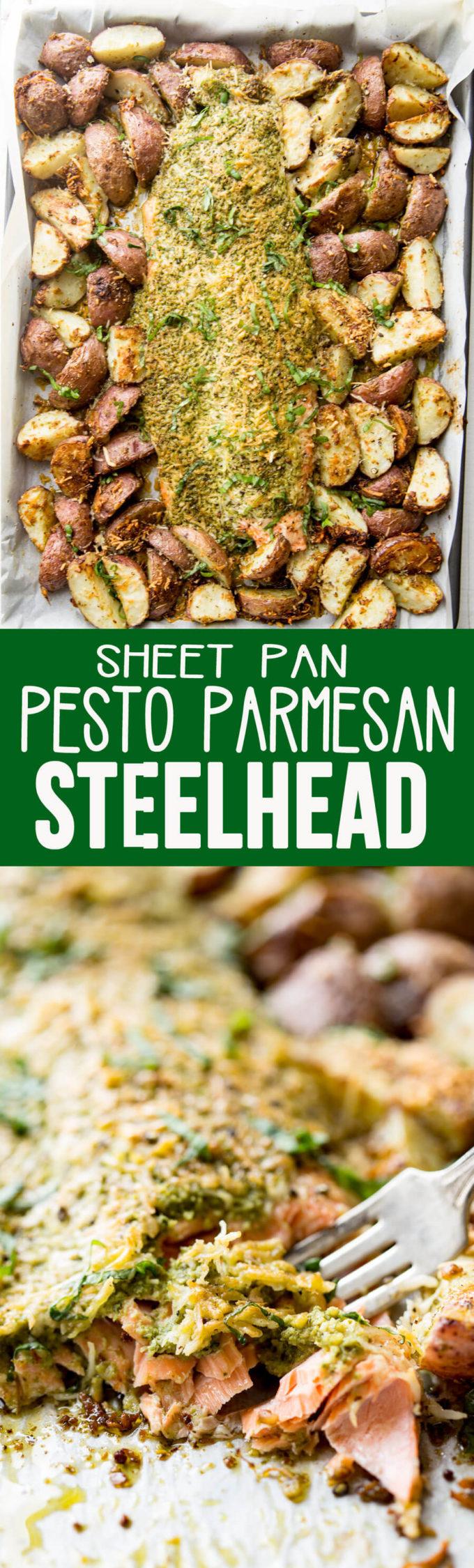 Pesto parmesan steelhead and roasted potatoes