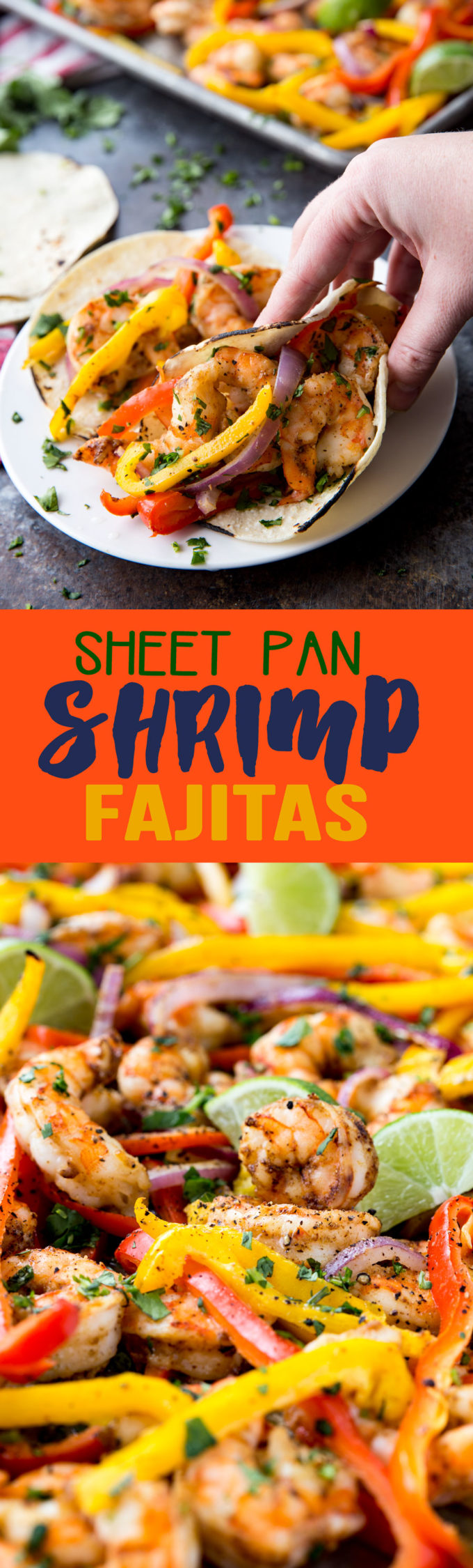 15 minute Sheet Pan Shrimp Fajitas. Start to finish this meal takes mere minutes to have on the table. Enjoy!