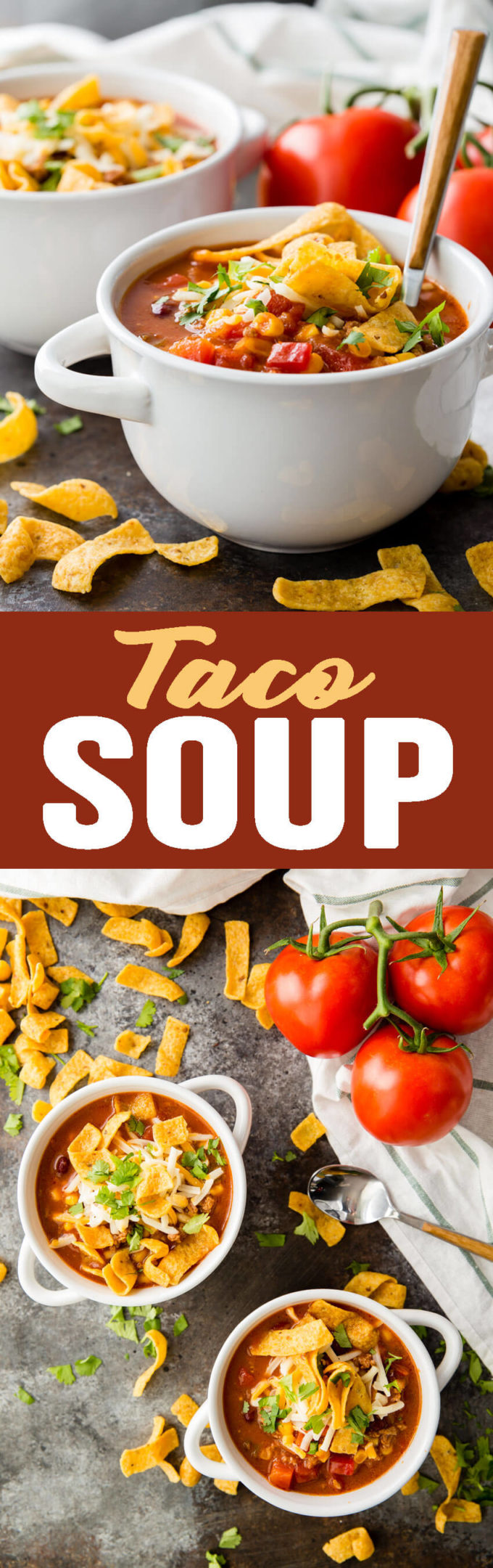 Taco Soup: The most flavorful and easy taco soup you will ever eattakes only 10-15 minutes to throw together. Healthy, easy, full of protein, fiber, and flavor; you can't go wrong with this soup!