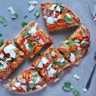 Tandoori chicken Turkish bread pizza