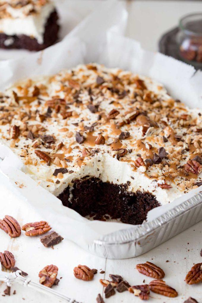 Chocolate Caramel Turtle Poke Cake