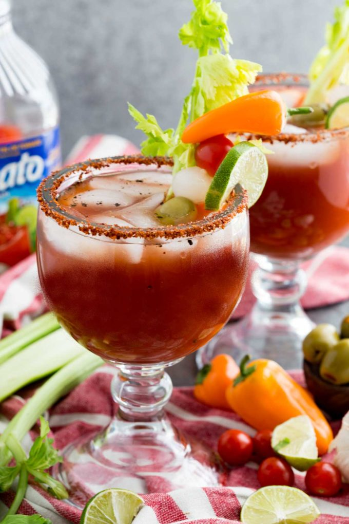 Virgin Michelada or Virgin Bloody Mary beverage