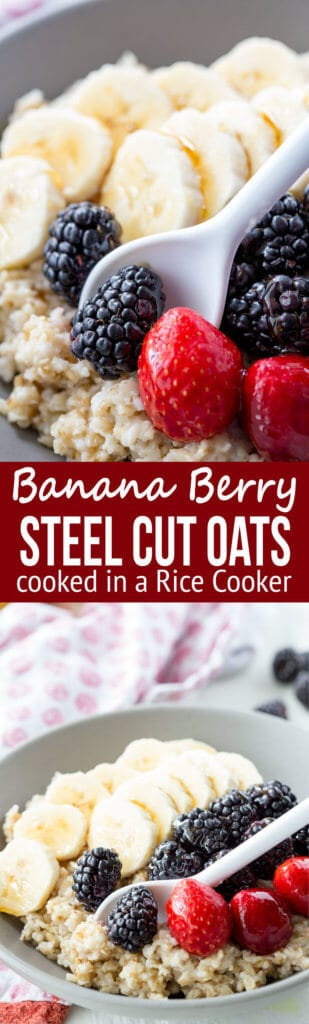 Easy Breakfast Steel Cut Oats with Berries and Bananas, cooked in a rice cooker