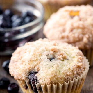 Easy to bake blueberry muffins with streusel topping