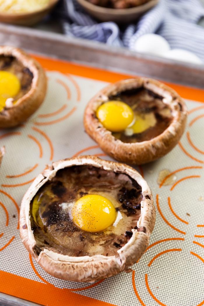 Eggs in a portobellow mushroom