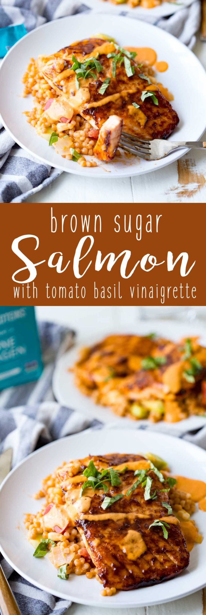 Brown sugar salmon, seared to perfection and served over a bed of cous cous and topped with tomato basil vinaigrette