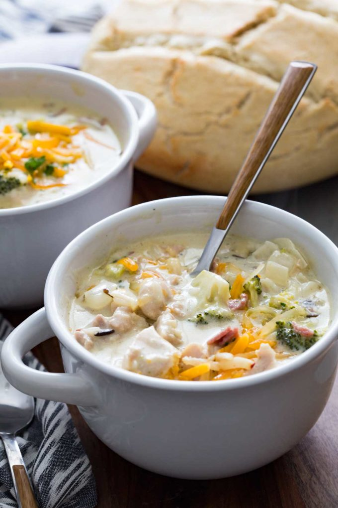 Slow Cooker Creamy Chicken Bacon Broccoli Cheddar Wild Rice Soup