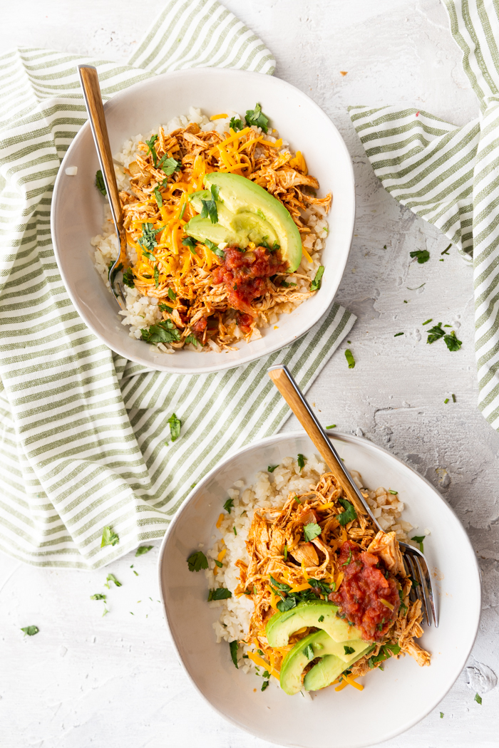 Chicken enchilada meal prep bowls