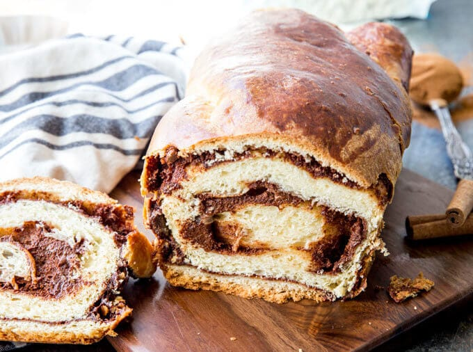 Cinnamon Swirl bread, a delicious bread with a thick swirl of cinnamon filling. This is bakery quality bread you can make at home.