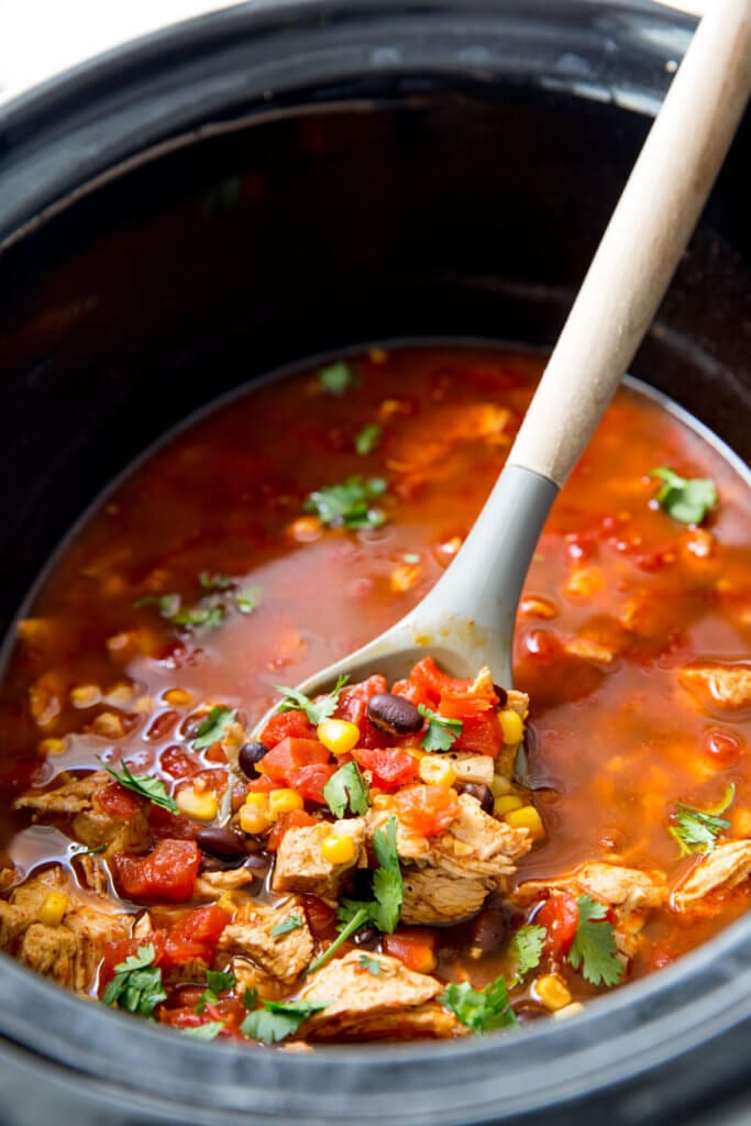 Slow Cooker Chicken Tortilla soup is an easy soup for cold weather or warm