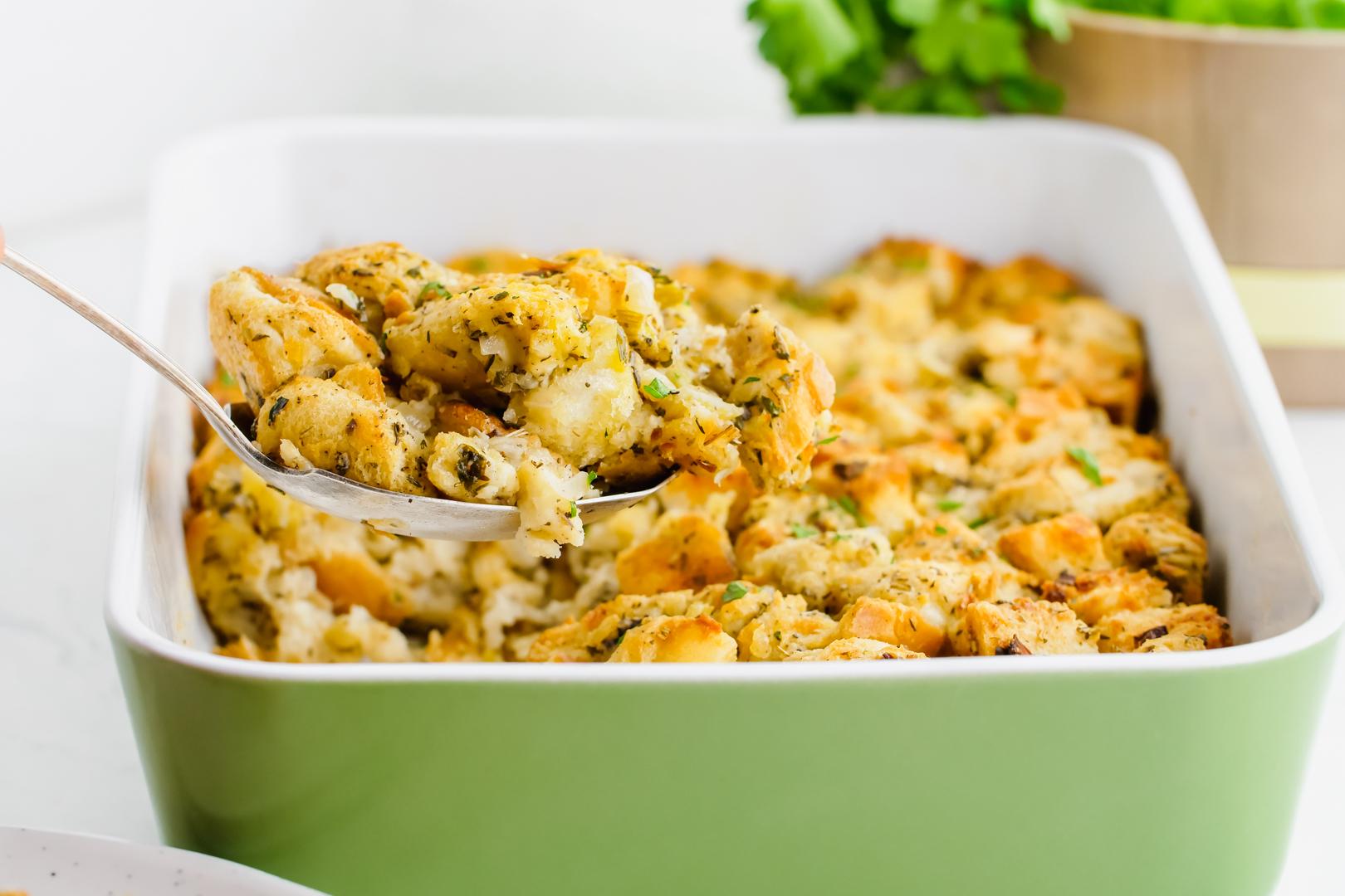 stuffing in a casserole dish