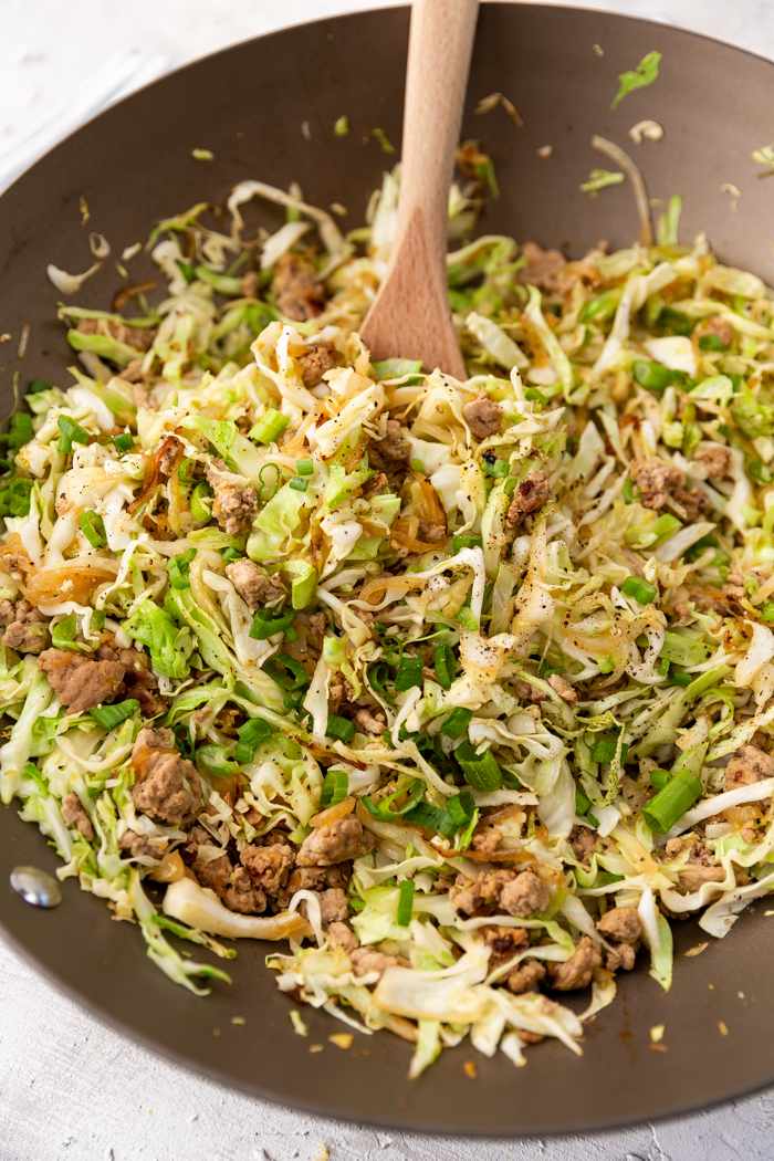 egg roll bowl in a pan