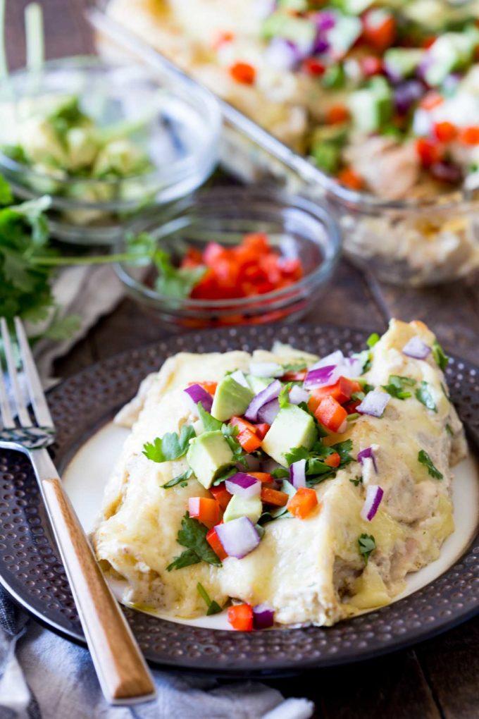 Easy, creamy, green chili turkey and egg enchiladas