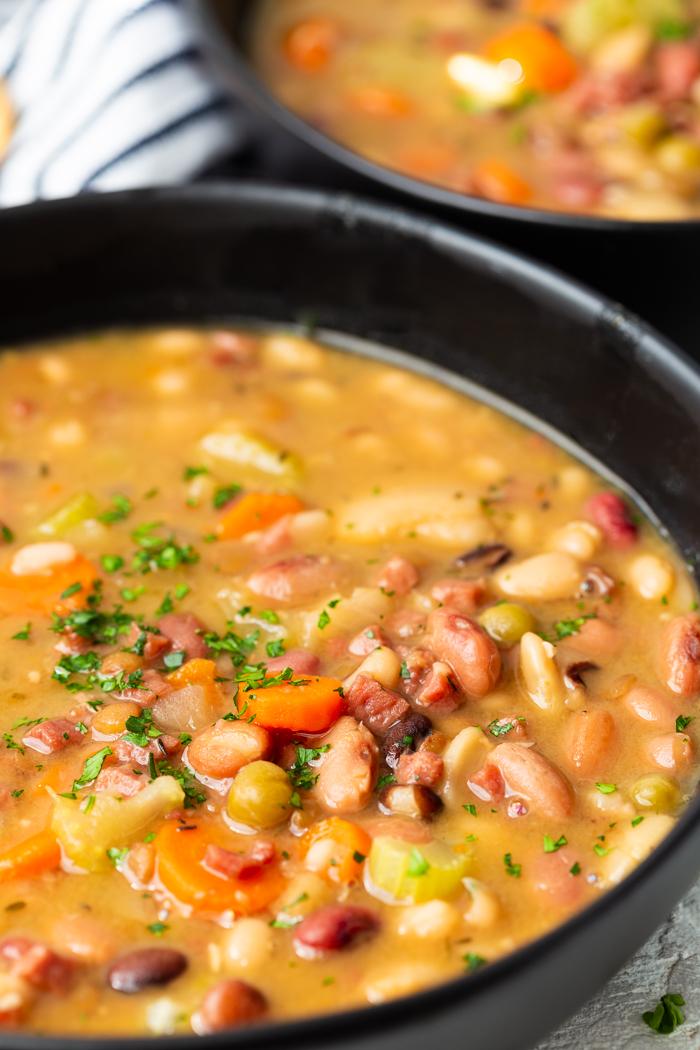 close up of instant pot ham and bean soup