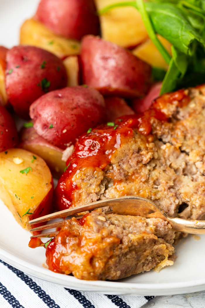 Instant Pot meatloaf, cooked in an instant pot with potatoes