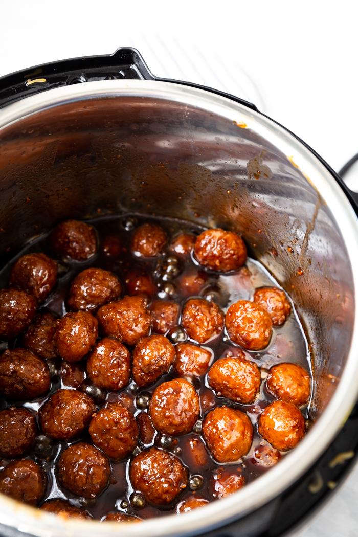 mongolian beef meatballs in the pressure cooker