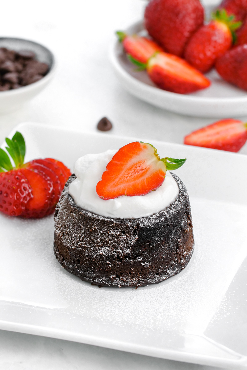 Instant Pot Chocolate lava cake with a strawberry on top.