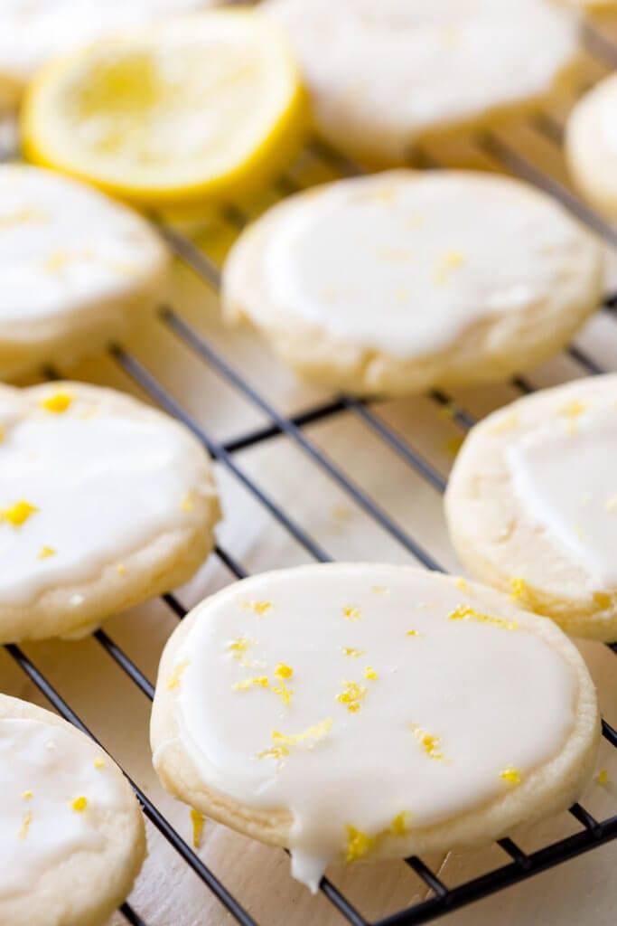 Lemon shortbread cookies with lemon glaze