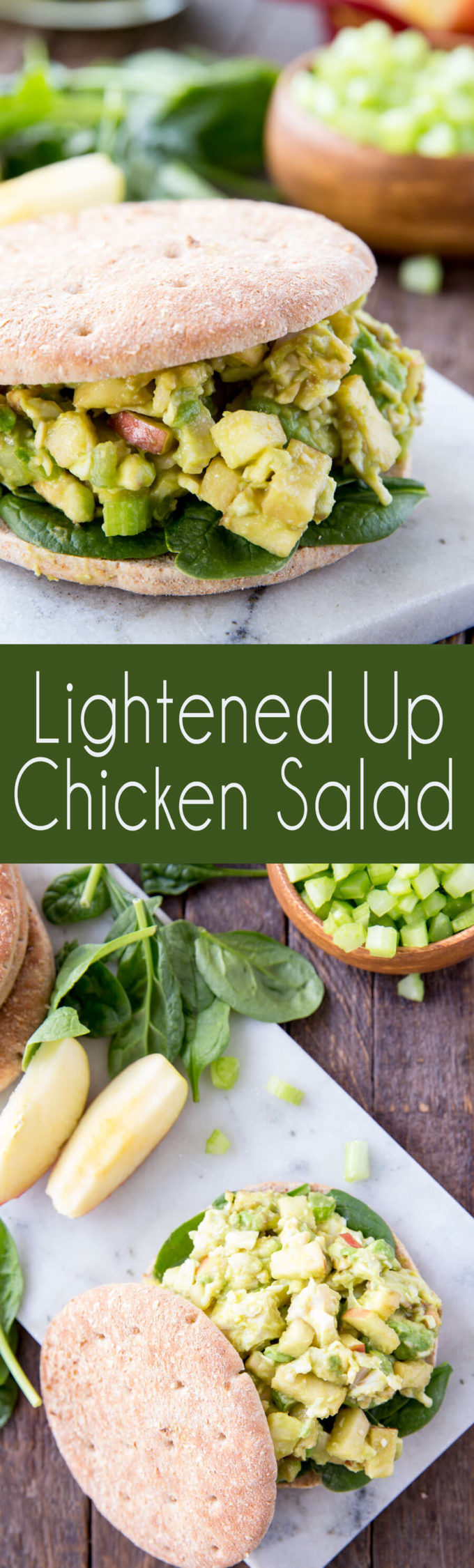 Lightened up chicken salad sandwiches with avocado