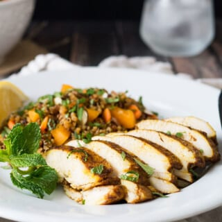 This Morrocan Baked Chicken Breast and Quinoa Salad dinner is the perfect marriage of exotic flavors and easy prep.