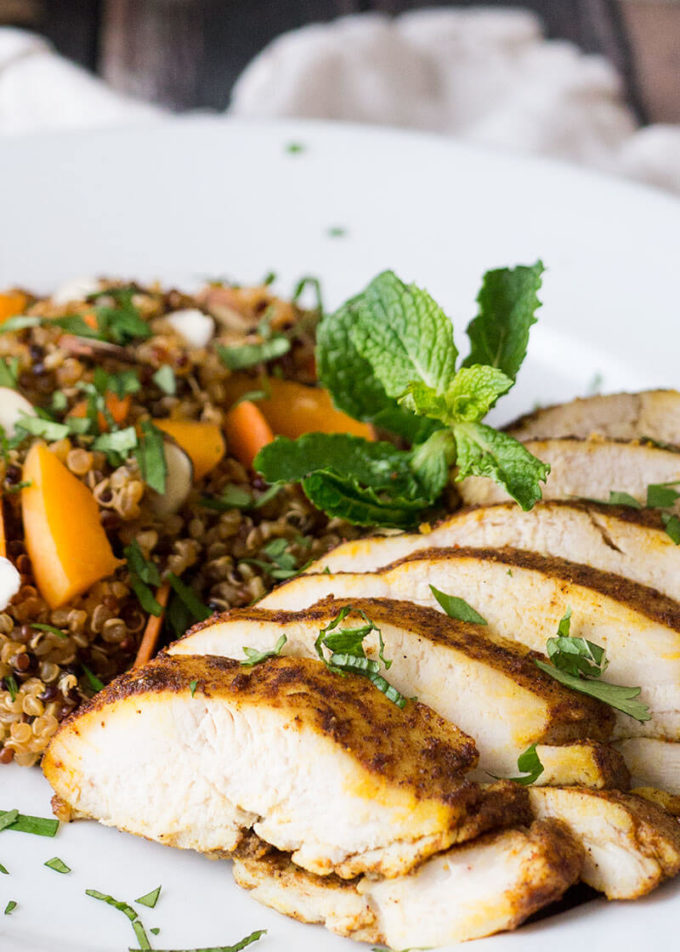 Moroccan baked chicken breast quinoa salad easy peasy meals this morrocan baked chicken breast and quinoa salad dinner is the perfect marriage of exotic flavors forumfinder Gallery