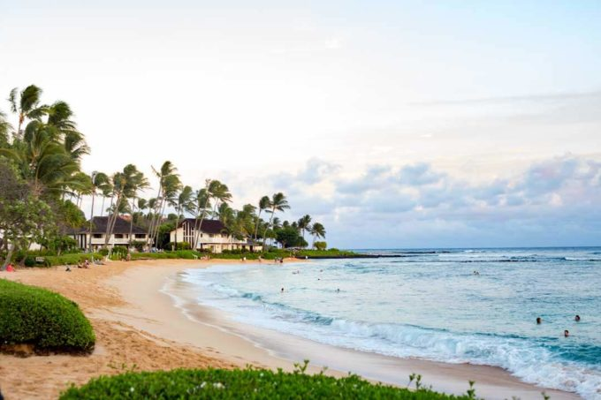 Poipu Beach is a beautiful beach in South Kauai