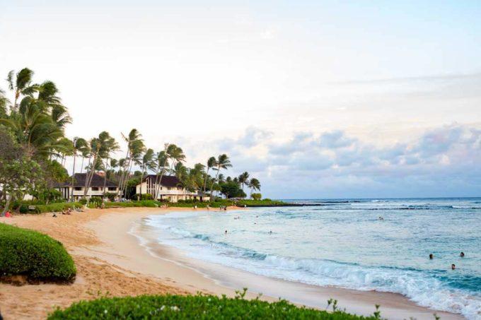 Poipu Beach is a beautiful beach in South Kauai