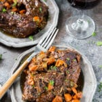 Red wine braised beef, an easy meal cooked in a dutch oven. Easy, flavorful, and delicious.