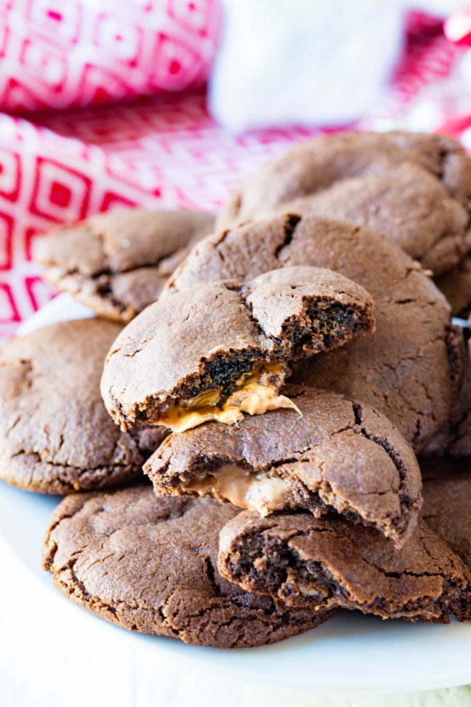 Caramel stuffed chocolate cookies make a great Santa cookie. They are tasty, fun, and help make the holidays bright. You will be anxious to sink your teeth into these chocolatey cookies with a carmel surprise.
