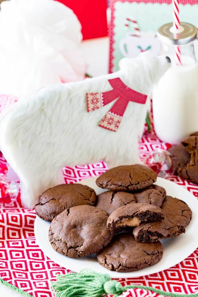 Caramel stuffed cookies make a great Santa cookie. They are tasty, fun, and help make the holidays bright. You will be anxious to sink your teeth into these chocolatey cookies with a carmel surprise.