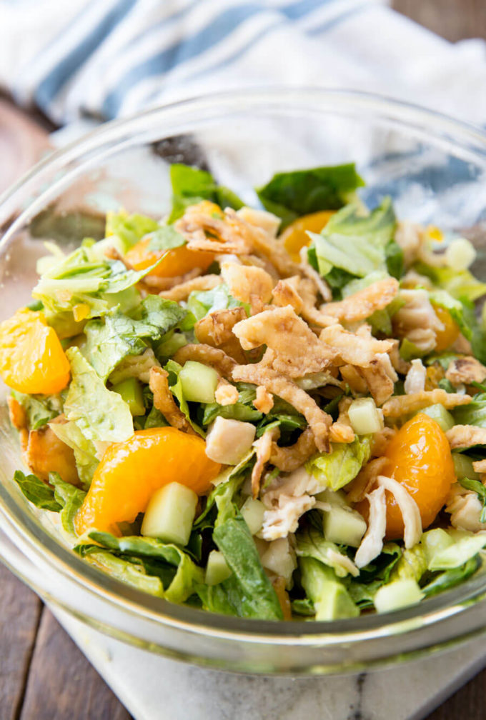 Avocado sesame ginger chicken salad