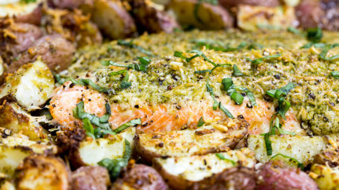 Roasted steelhead and potatoes with parmesan and pesto