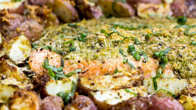 Roasted steelhead and potatoes with parmesan and pesto