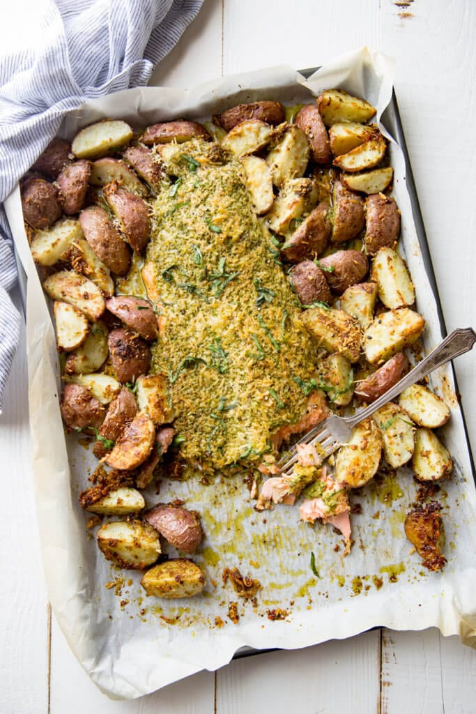 Sheet pan pesto parmesan steelhead with roasted potatoes