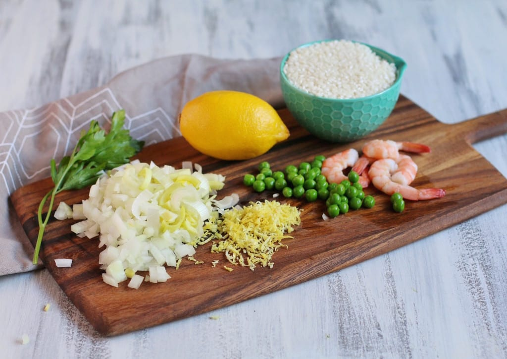 Baked Shrimp Pea and Lemon Risotto