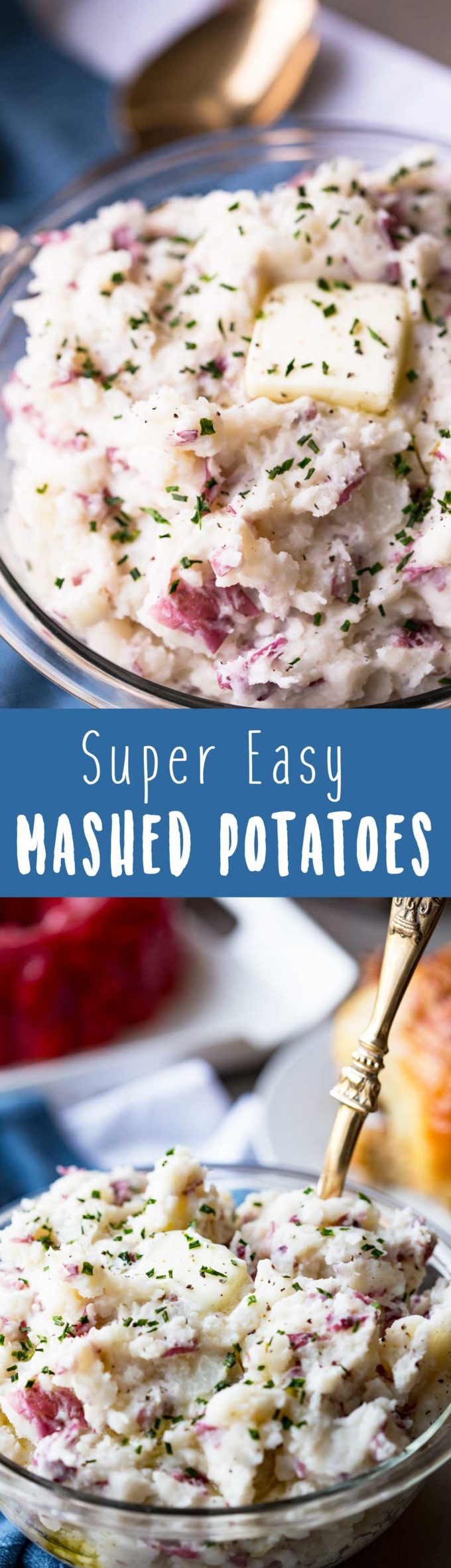 Super Easy Mashed Potatoes are rich, fluffy, buttery, and the perfect addition to your dinner table. And they are fluffy deliciousness rather than potato paste.