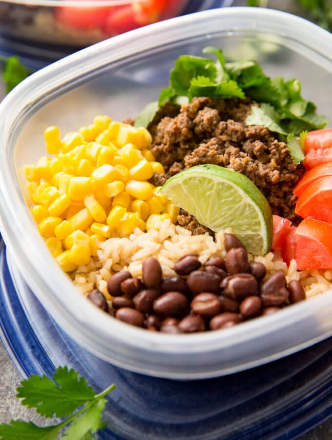Easy taco meal prep bowls, with salsa verde beef