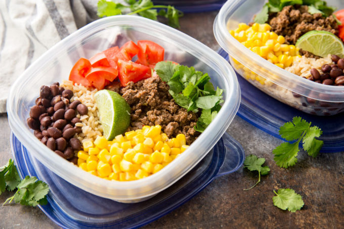 Easy taco bowls with beef salsa verde, easy meal prep solution
