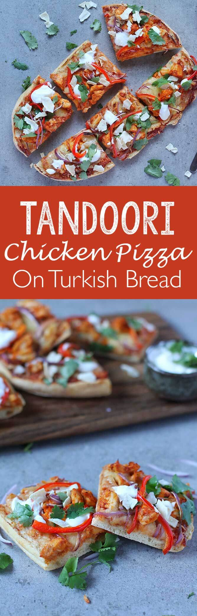 Tandoori Chicken Pizza on Turkish Bread, a flavorful, tasty, delicious pizza!